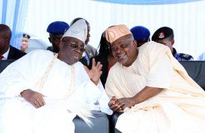 Speaker Obasa (left) and His Royal Majesty, Oba Rilwan Akiolu.