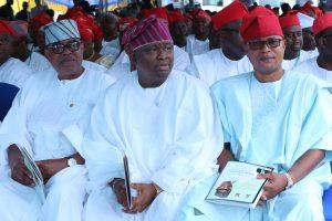 L-R: Senators Gbenga Ashafa and Solomon Olamilekan Adeola as well as Lagos Assermbly Deputy Speaker, Hon.Wasiu Eshinloku-Sanni.