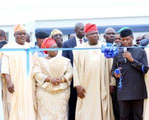 VP Osinbajo (right) commissioning LASEMA Response Unit, Oshodi. Others from left are: Speaker Obasa, Deputy Governor, Dr Idiat Oluranti Adebule and Governor Akinwunmi Ambode.