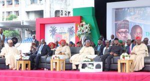 L-R: Speaker Obasa, Fashola, Dr Adebule,Kebbi State Governor, Alhaji Atiku Bagudu, VP Osibanjo and Governor Ambode.
