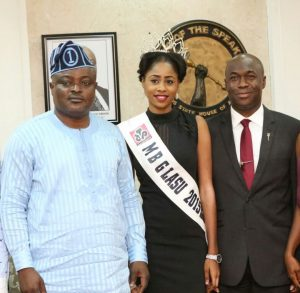 L-R: Speaker, Lagos State House of Assembly, Rt. Hon. Mudashiru Obasa; reigning Most Beautiful Girl in LASU, Miss Yetunde Aminat Olasimbo; and Chief of Staff to the Speaker, Mr. Adewale Jafojo; when the LASU Queen paid a courtesy visit to the Speaker in his office at Alausa on Friday.