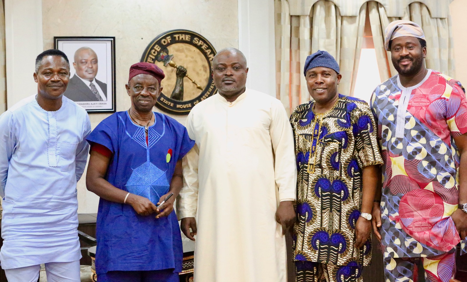 Member, Lagos State House of Assembly (LAHA), Hon. Rotimi Olowo; Nollywood filmmaker/producer, Mr Tunde Kelani; Speaker, LAHA, Rt. Hon. Mudashiru Obasa; members LAHA, Hon. Lanre Ogunyemi; and Hon. Desmond Elliott Olusola during Kelani's visit to the Speaker in Lagos on Friday.