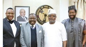 L-R: Lagos State House of Assembly (LAHA) member, Hon. Tunde Buraimoh; Speaker, Edo State House of Assembly, Rt. Hon. Ezezobor Justin Okonoboh; his Lagos State counterpart, Rt. Hon. Mudashiru Ajayi Obasa; and another LAHA member, Hon. Desmond Elliot Olusola.