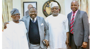 L-R: Lagos State House of Assembly (LAHA) Majority Leader, Hon. Sanai Agunbiade; Speaker, Edo State House of Assembly, Rt. Hon. Ezezobor Justin Okonoboh; his Lagos State counterpart, Rt. Hon. Mudashiru Ajayi Obasa; and another LAHA member, Hon. Moshood Oshun.