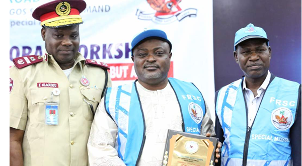 L-R: Sector Commander, FRSC, Ogun State, Corps Commander Clement Oladele; Speaker, Lagos State House of Assembly, Rt. Hon. Mudashiru Obasa; and Head, Policy, Research and Statistics, FRSC, Assistant Corps Marshall  Kayode Olagunju during the investiture of Rt. Hon. Obasa as a Special Marshall by the FRSC in Lagos at the weekend.