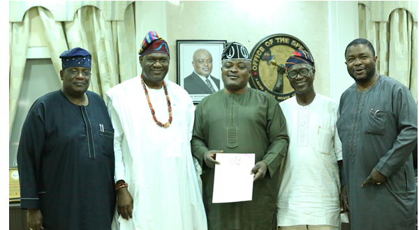Atunwase of Ijeshaland, Lisa Olu Akerele; Olumobi of Imubi-Ijeshaland, His Royal Highness, Dr. Adetayo Haastrup; Speaker, Lagos State House of Assembly (LAHA), Rt. Hon. Mudashiru Obasa; member of delegation, Alhaji Muhammed Ikeola; and member LAHA, Hon. Sikiru Bayo Osinowo, during visit of delegation of Owa Obokun of Ijeshaland to the Speaker in Lagos.