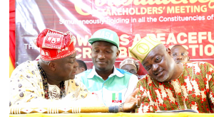 L-R: The Olu of Agege Kingdom, Oba Kamila Isiba; Chairman, Agege Local Government, Alhaji Kola Egunjobi; and Speaker, Lagos State House of Assembly, Rt. Hon. Mudashiru Obasa during the Lagos Assembly Constituency Stakeholders' Meeting