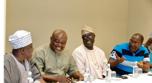L-R: Speaker, Ogun State House of Assembly, Rt. Hon. Suraju Adekunbi; Speaker, Lagos State House of Assembly and host, Rt. Hon. Mudashiru Obasa; Speaker, Oyo State House of Assembly, Rt. Hon. Joshua Olagunju Ojo; and Osun Speaker, Rt. Hon. Najeem Salam during a pre-conference parley organised for southwest Speakers ahead the meeting of Conference of Speakers starting on Friday